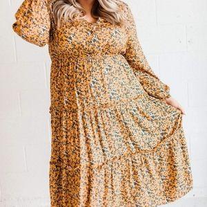 Brand new! Mustard Floral Boho Dress 1XL